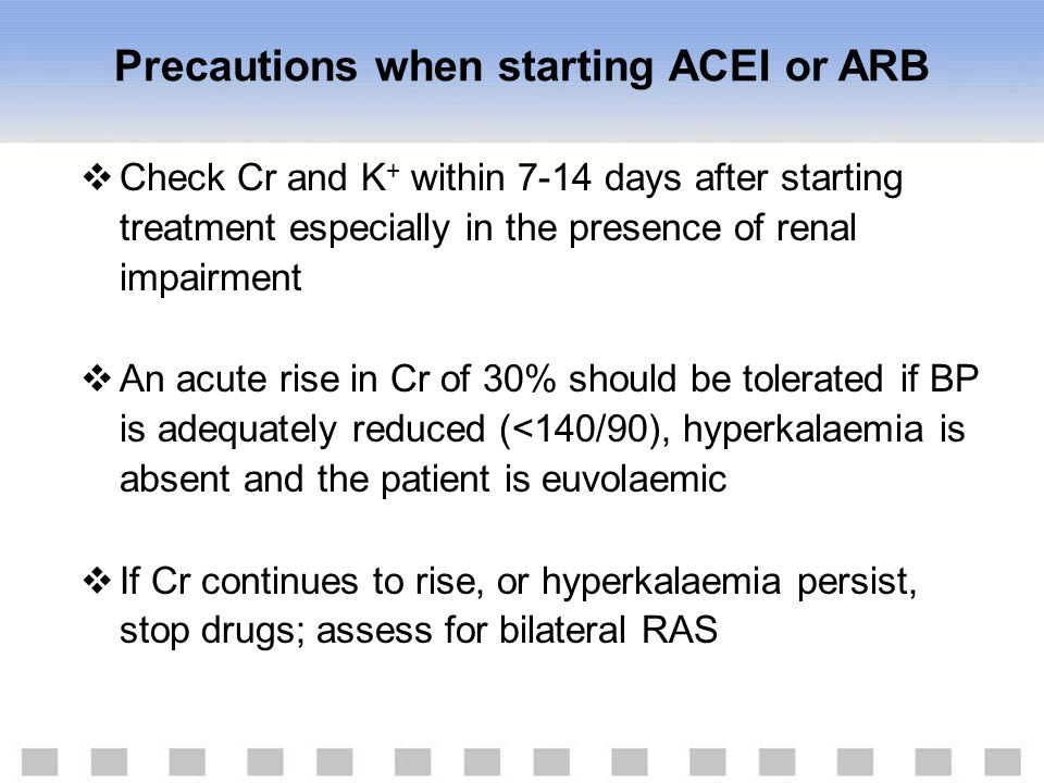 Precautions when starting ACEI or ARB