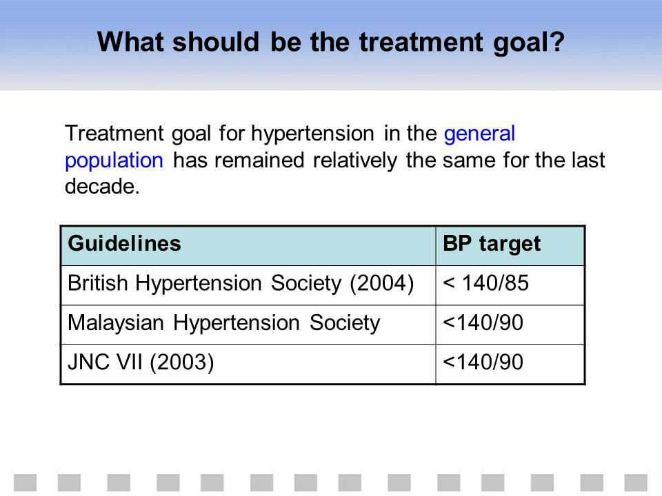 What should be the treatment goal