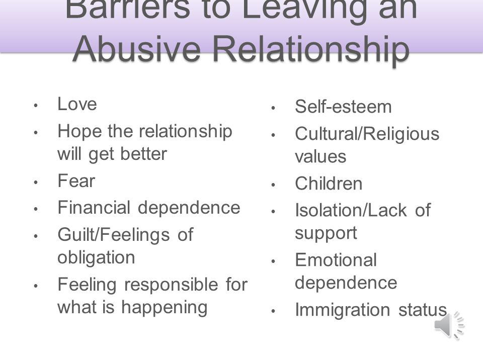 Barriers to Leaving an Abusive Relationship