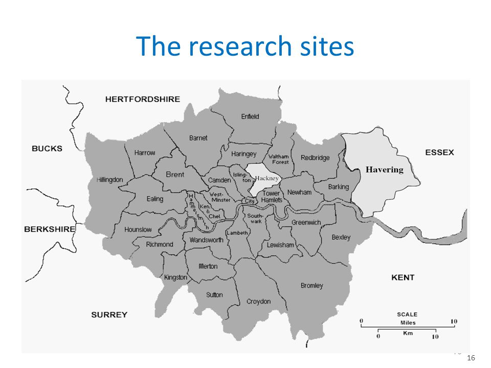The research sites 16