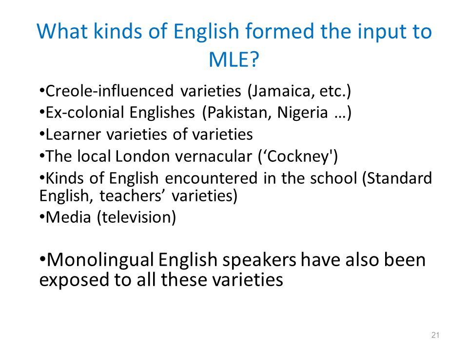 What kinds of English formed the input to MLE