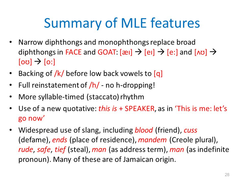 Summary of MLE features