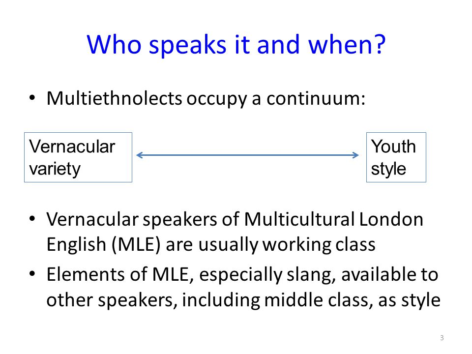 Who speaks it and when Multiethnolects occupy a continuum: