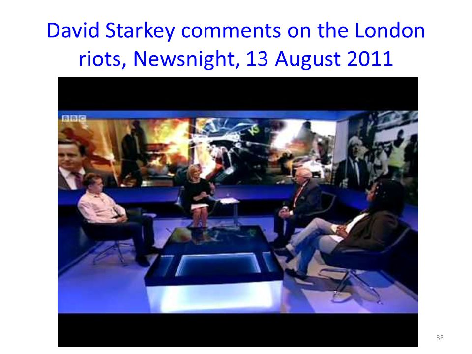 David Starkey comments on the London riots, Newsnight, 13 August 2011