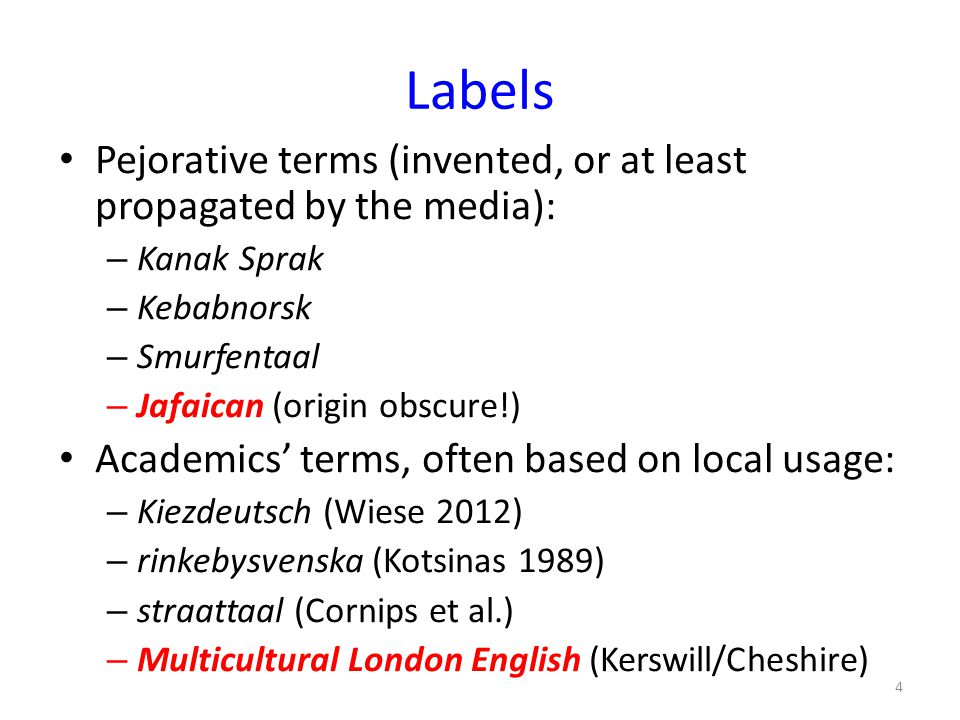 Labels Pejorative terms (invented, or at least propagated by the media): Kanak Sprak. Kebabnorsk.