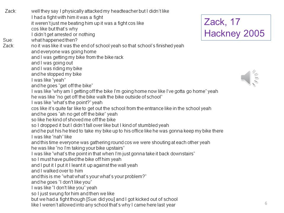 Zack: well they say I physically attacked my headteacher but I didn't like