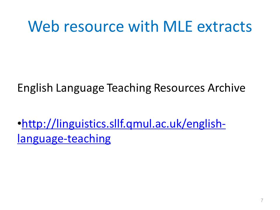Web resource with MLE extracts