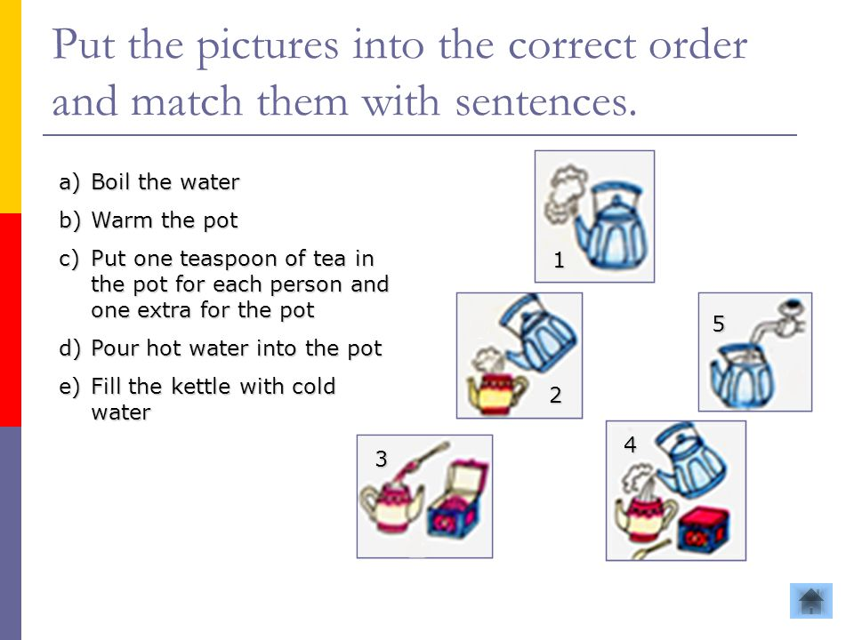 Put the pictures into the correct order and match them with sentences.