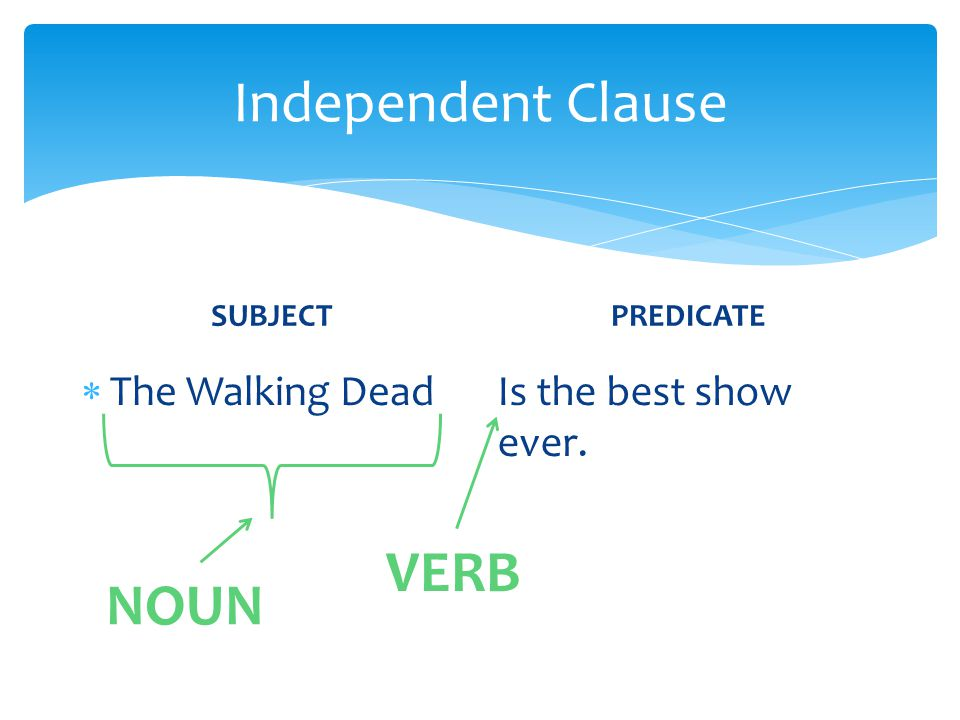 Independent Clause VERB NOUN The Walking Dead Is the best show ever.