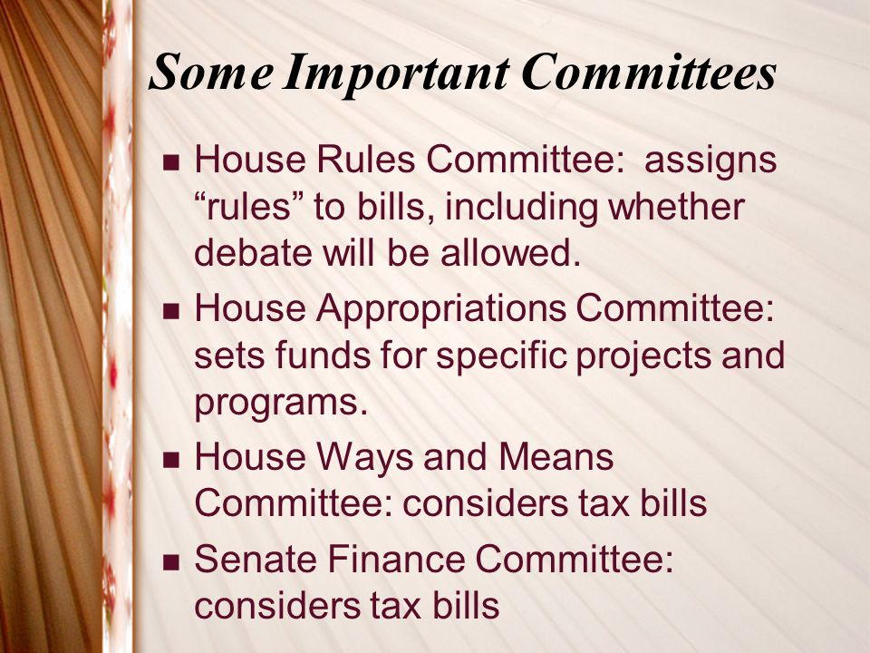 Some Important Committees