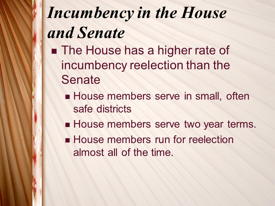 Incumbency in the House and Senate