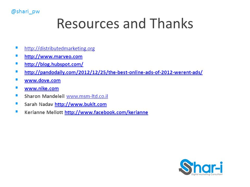 Resources and Thanks http://distributedmarketing.org