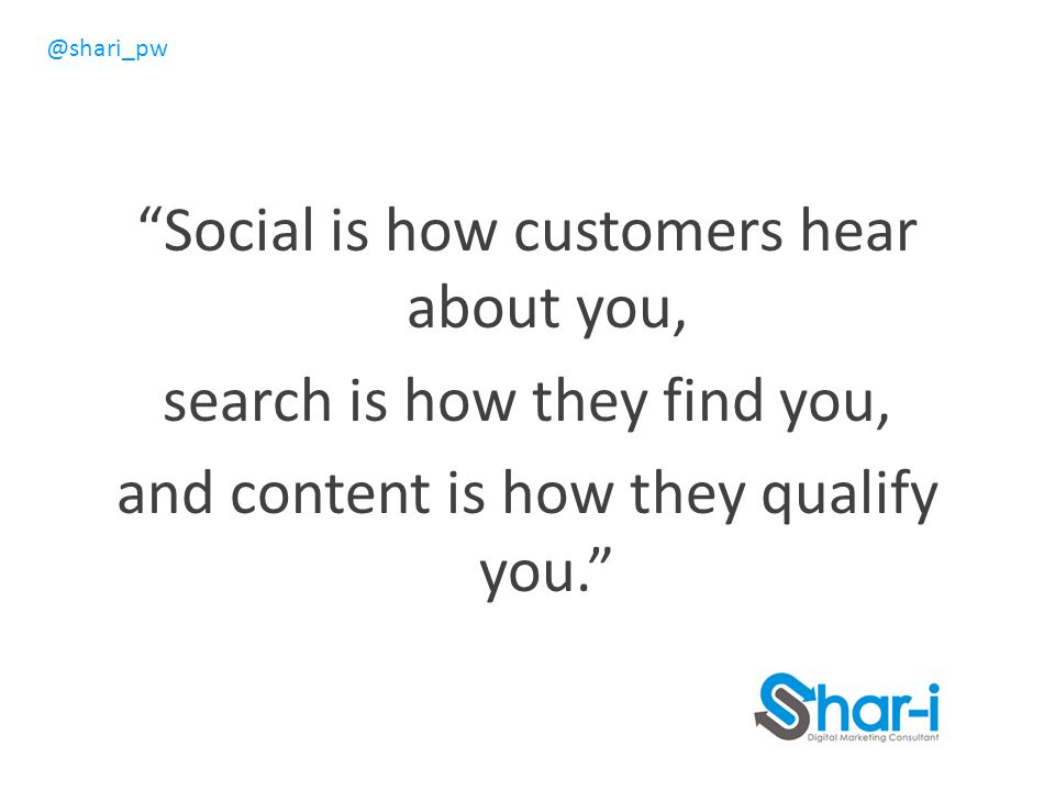 Social is how customers hear about you, search is how they find you, and content is how they qualify you.