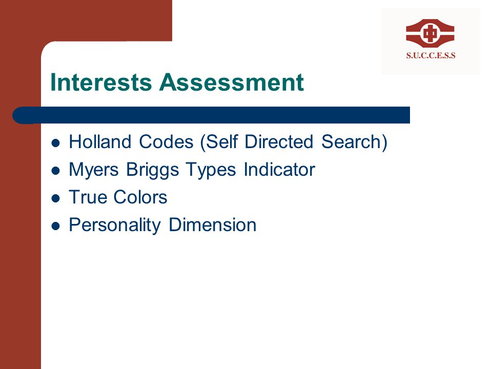 Interests Assessment Holland Codes (Self Directed Search)
