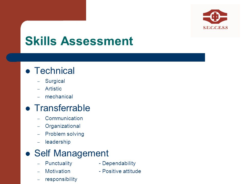 Skills Assessment Technical Transferrable Self Management Surgical