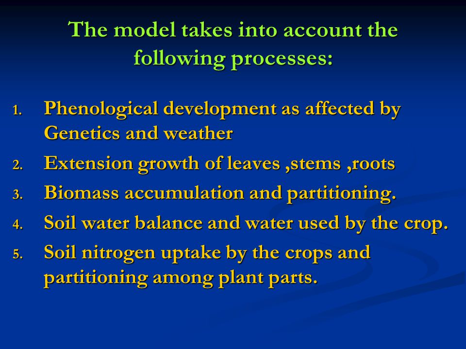The model takes into account the following processes: