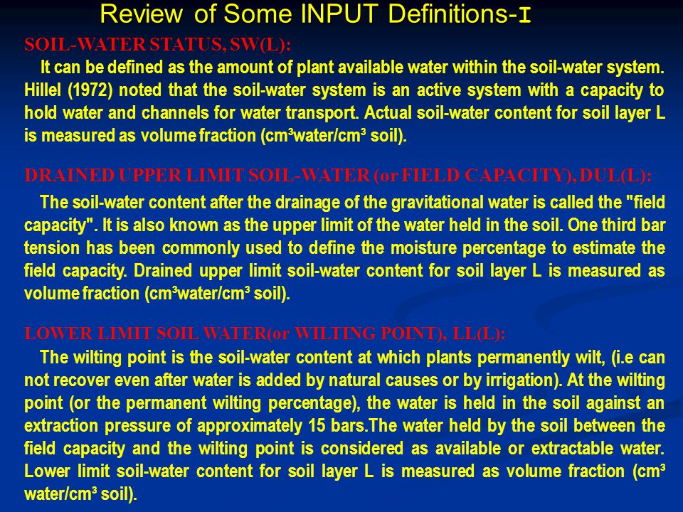 Review of Some INPUT Definitions-I