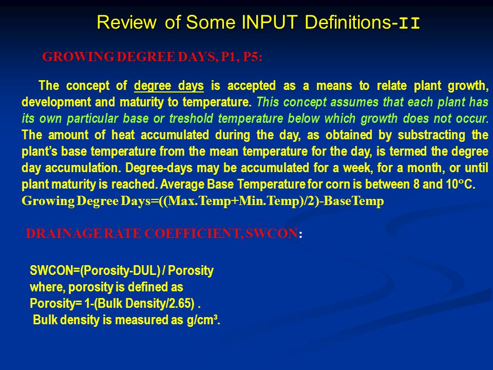 Review of Some INPUT Definitions-II