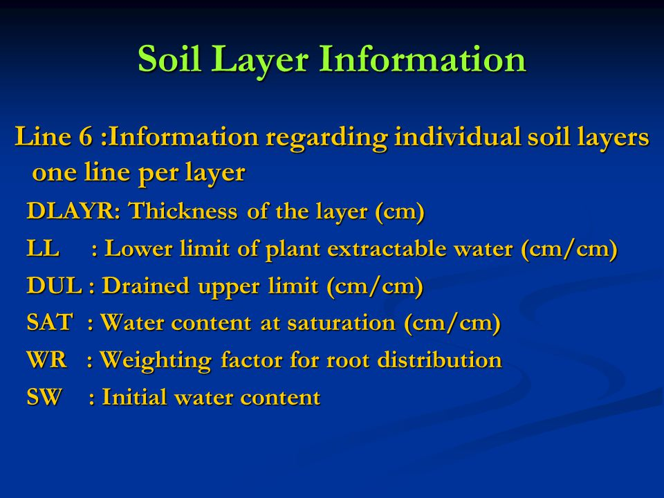 Soil Layer Information