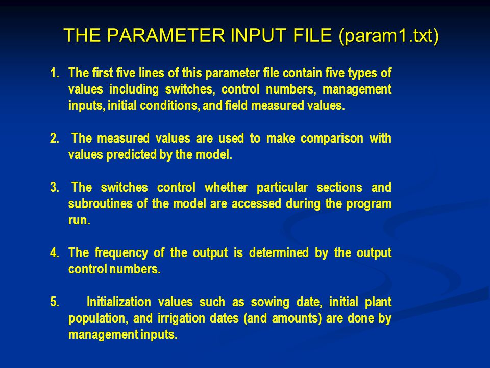 THE PARAMETER INPUT FILE (param1.txt)