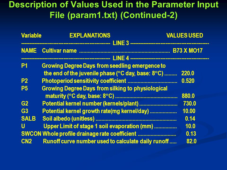 Description of Values Used in the Parameter Input File (param1