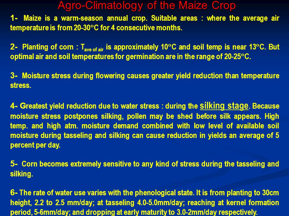 Agro-Climatology of the Maize Crop