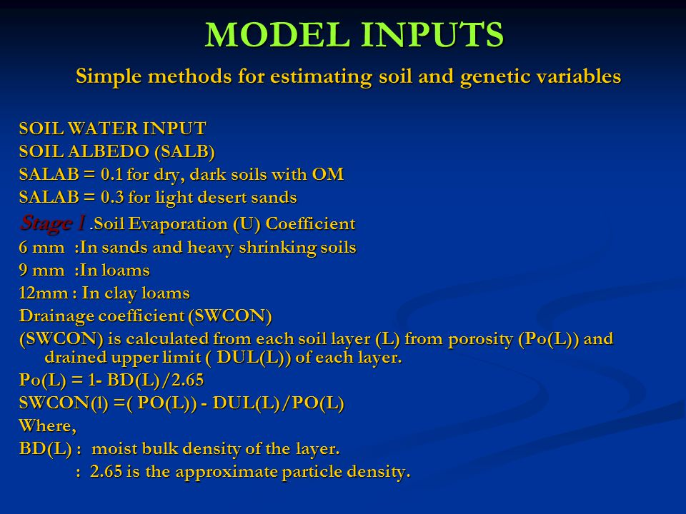 Simple methods for estimating soil and genetic variables