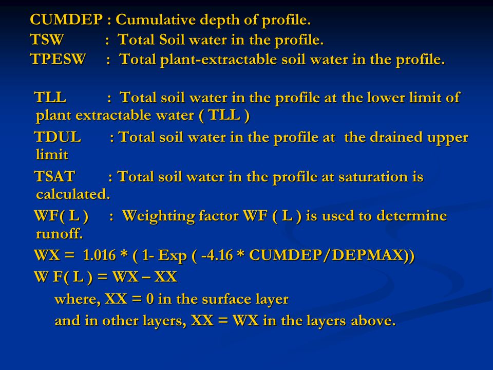 CUMDEP : Cumulative depth of profile