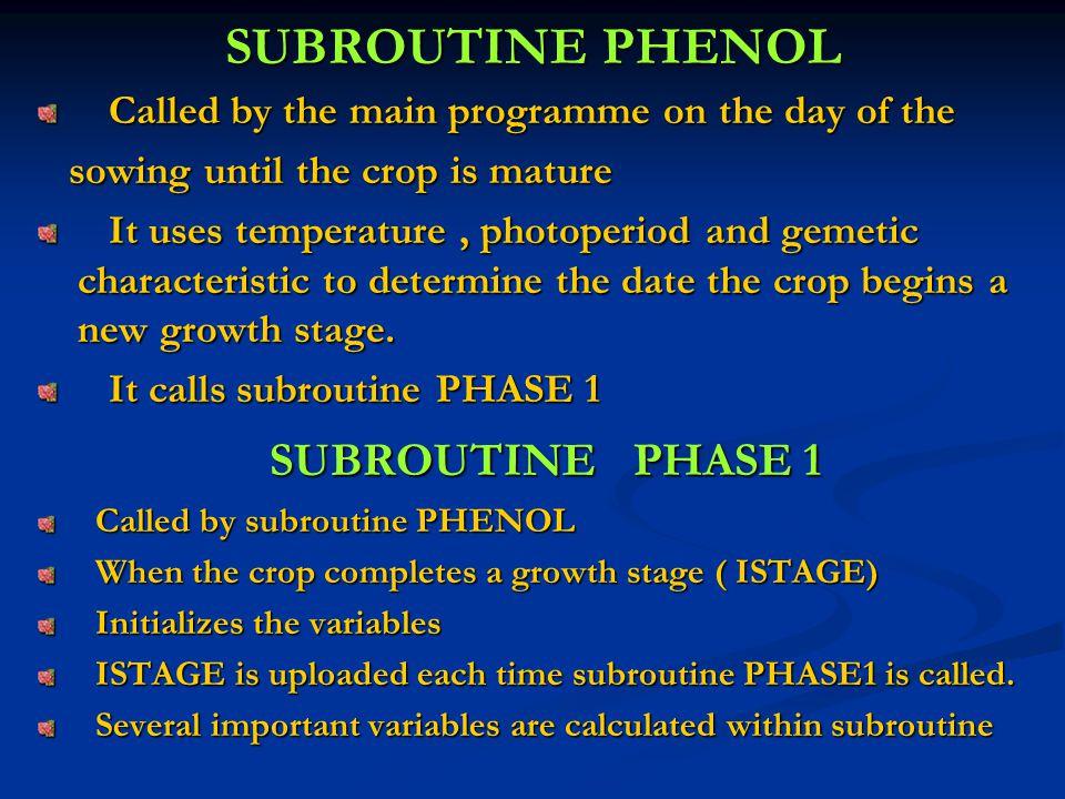SUBROUTINE PHENOL SUBROUTINE PHASE 1
