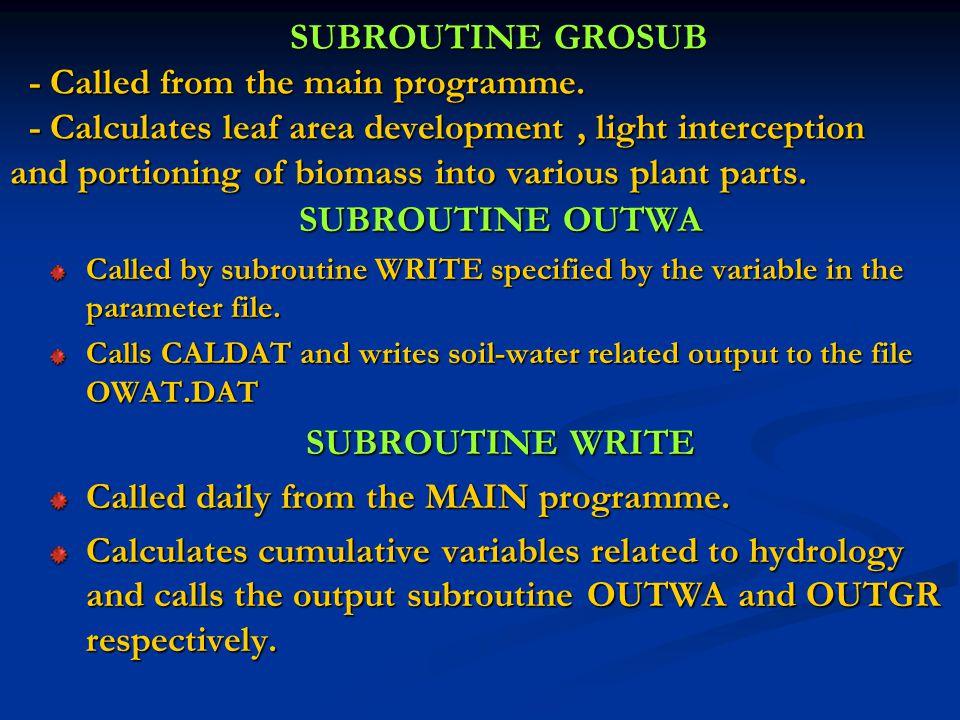 SUBROUTINE OUTWA SUBROUTINE WRITE