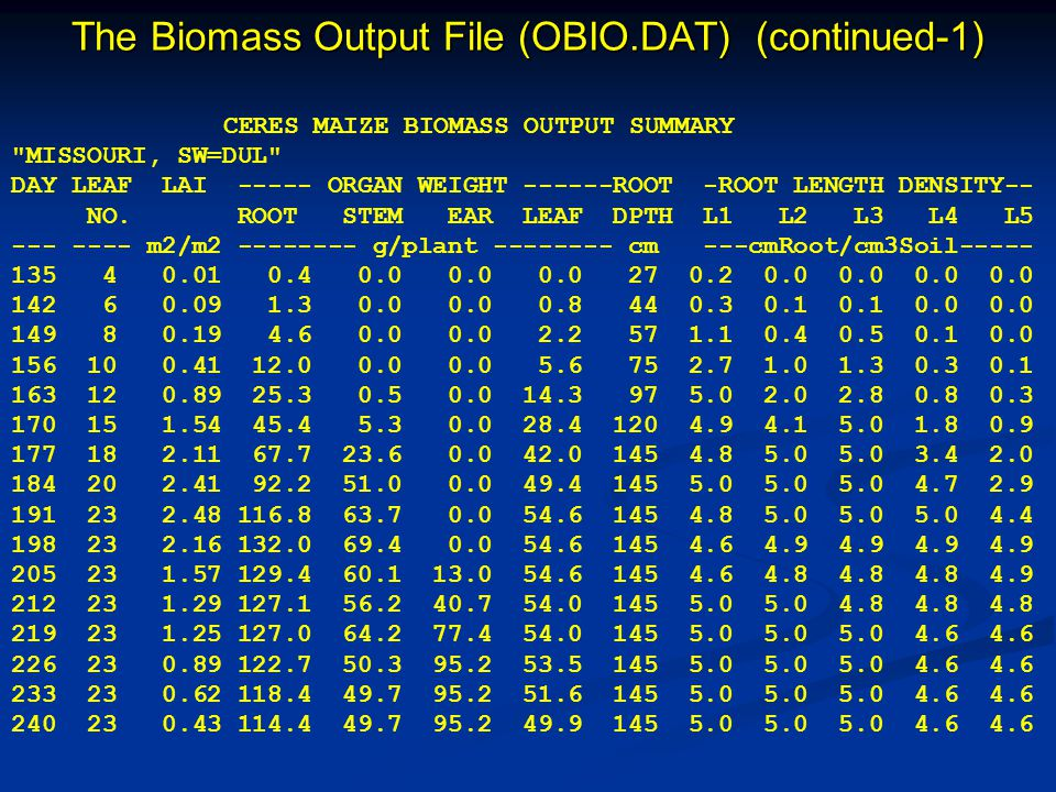 The Biomass Output File (OBIO.DAT) (continued-1)