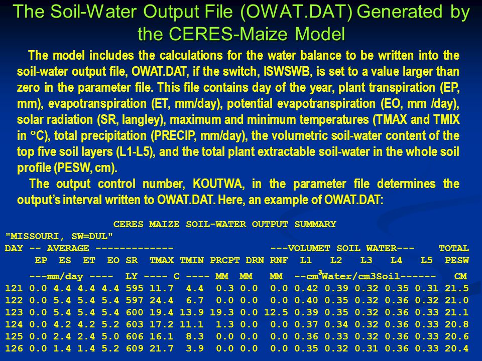 The Soil-Water Output File (OWAT