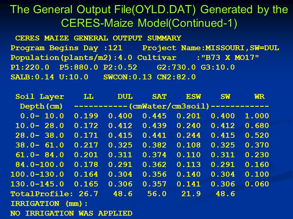 The General Output File(OYLD