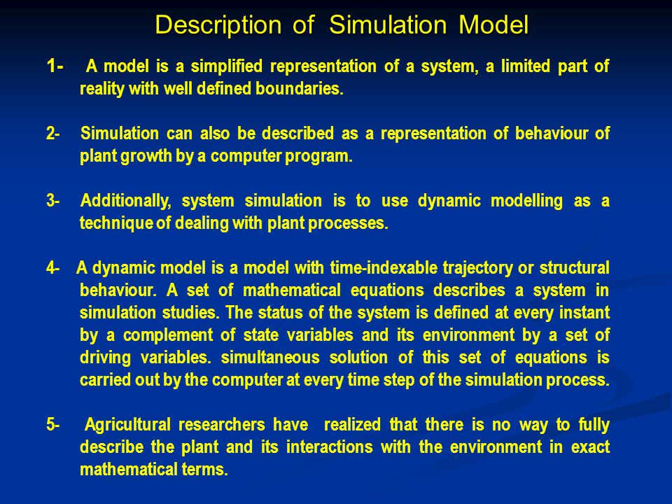 Description of Simulation Model