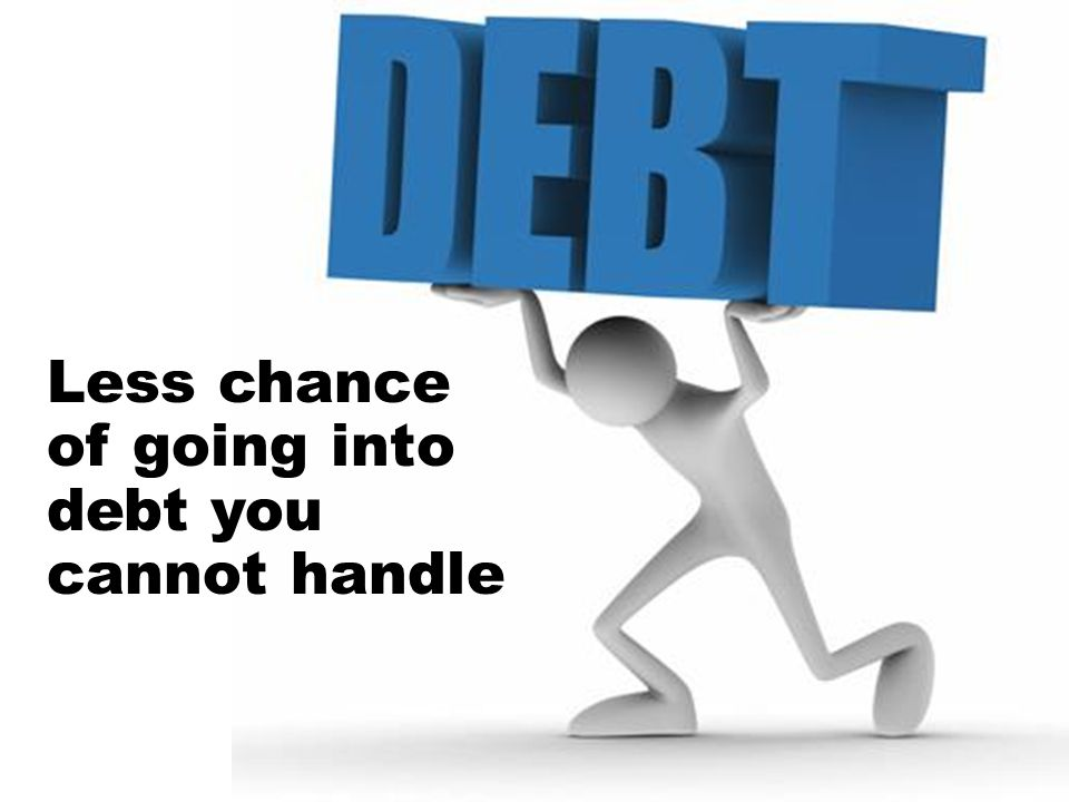 Less chance of going into debt you cannot handle