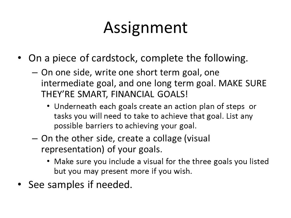 Assignment On a piece of cardstock, complete the following.