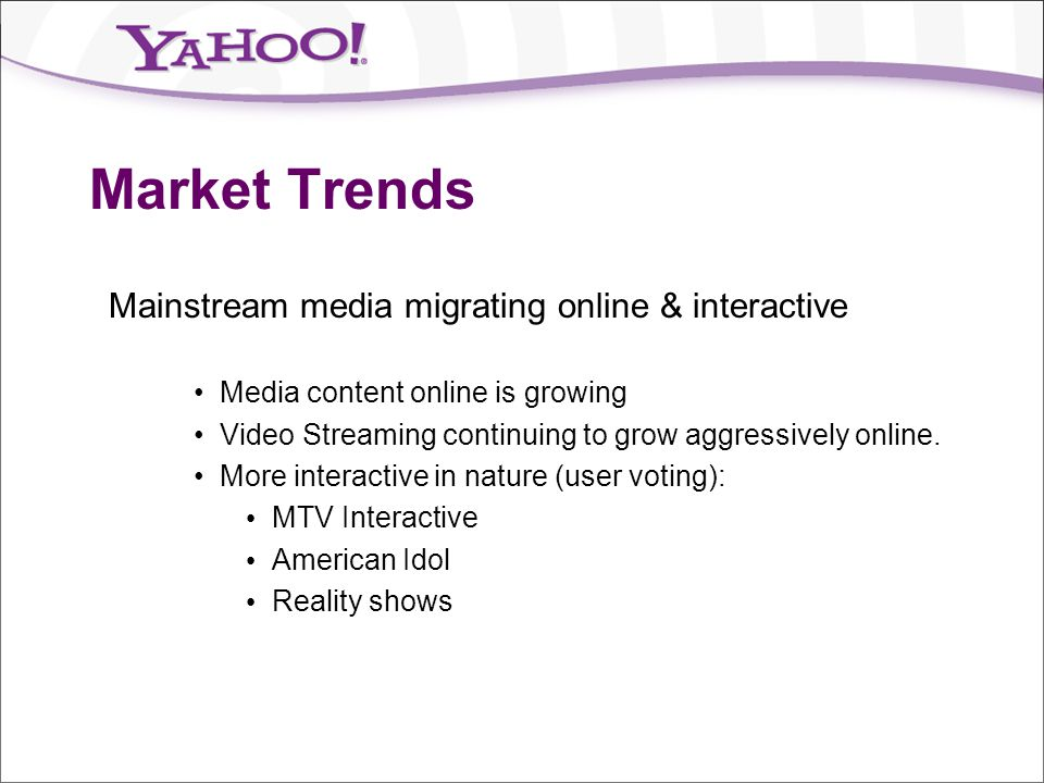 Market Trends Mainstream media migrating online & interactive
