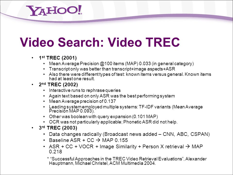 Video Search: Video TREC