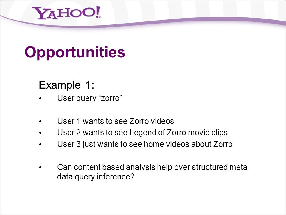 Opportunities Example 1: User query zorro