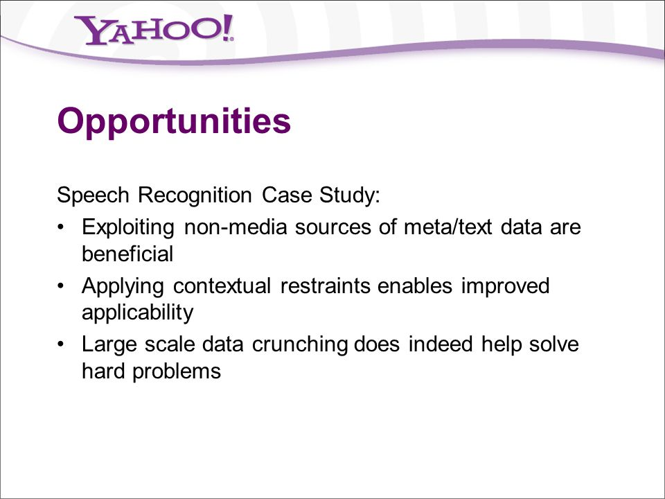 Opportunities Speech Recognition Case Study: