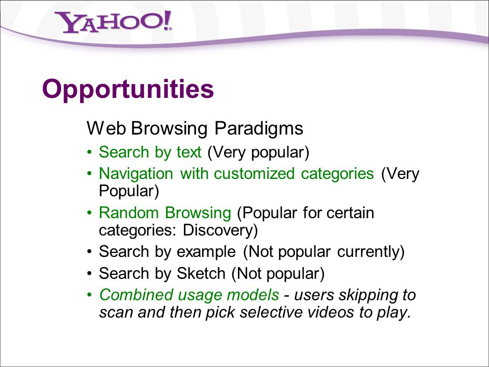 Opportunities Web Browsing Paradigms Search by text (Very popular)