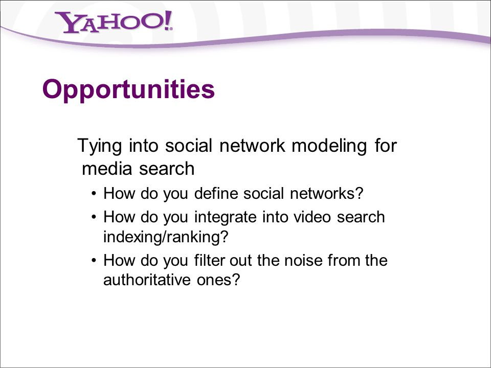 Opportunities Tying into social network modeling for media search
