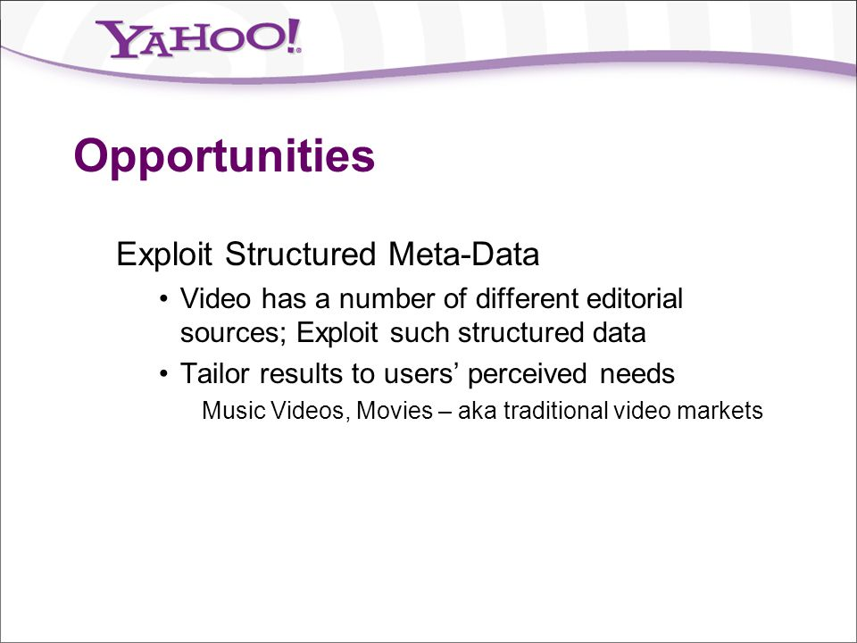 Opportunities Exploit Structured Meta-Data