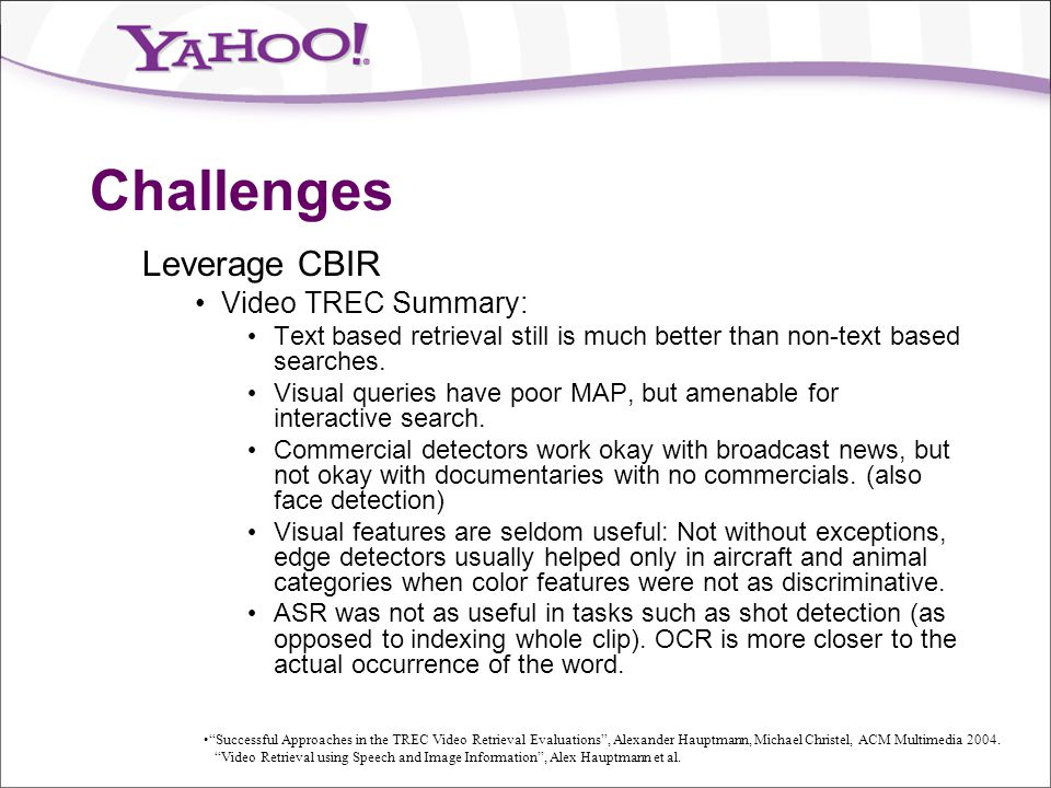 Challenges Leverage CBIR Video TREC Summary: