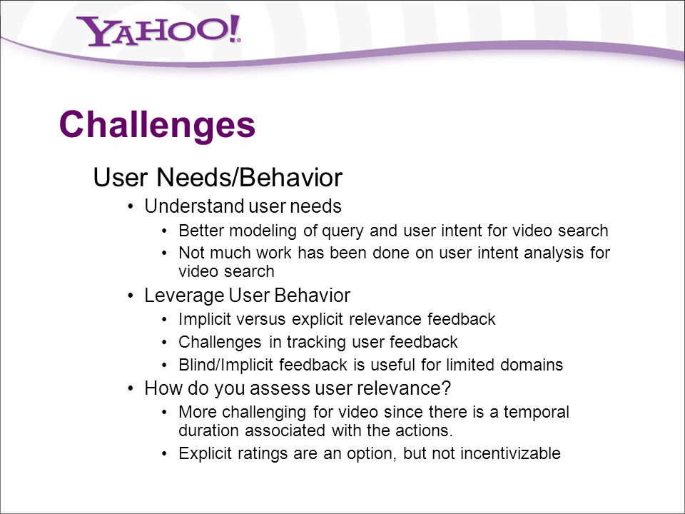 Challenges User Needs/Behavior Understand user needs