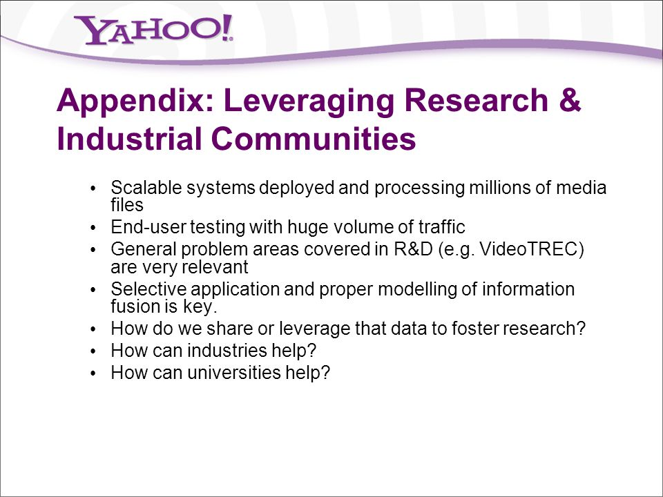 Appendix: Leveraging Research & Industrial Communities