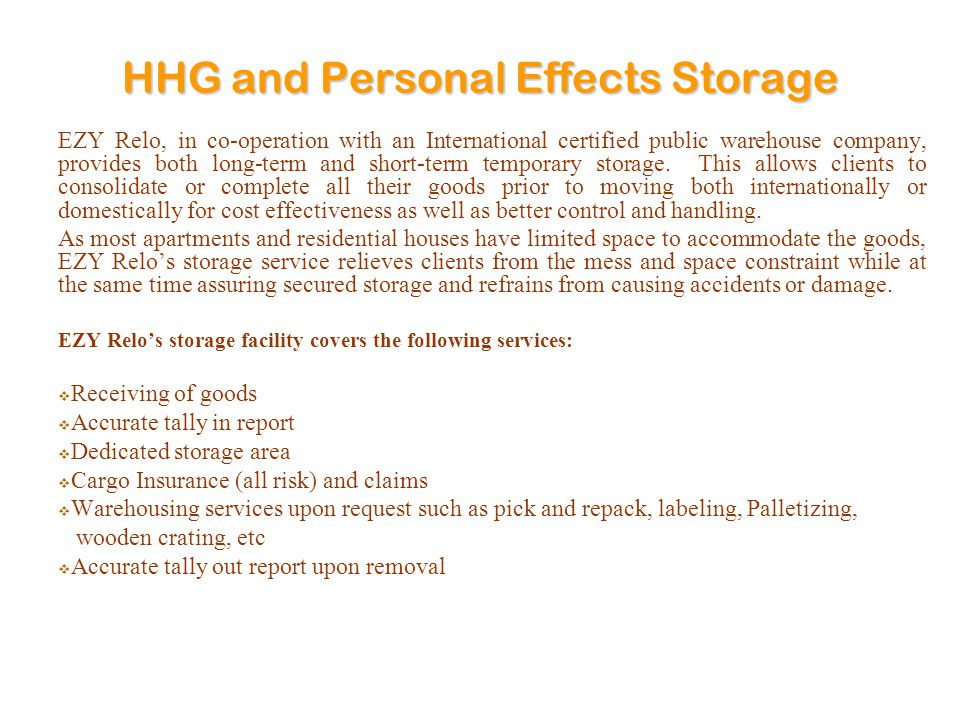 HHG and Personal Effects Storage