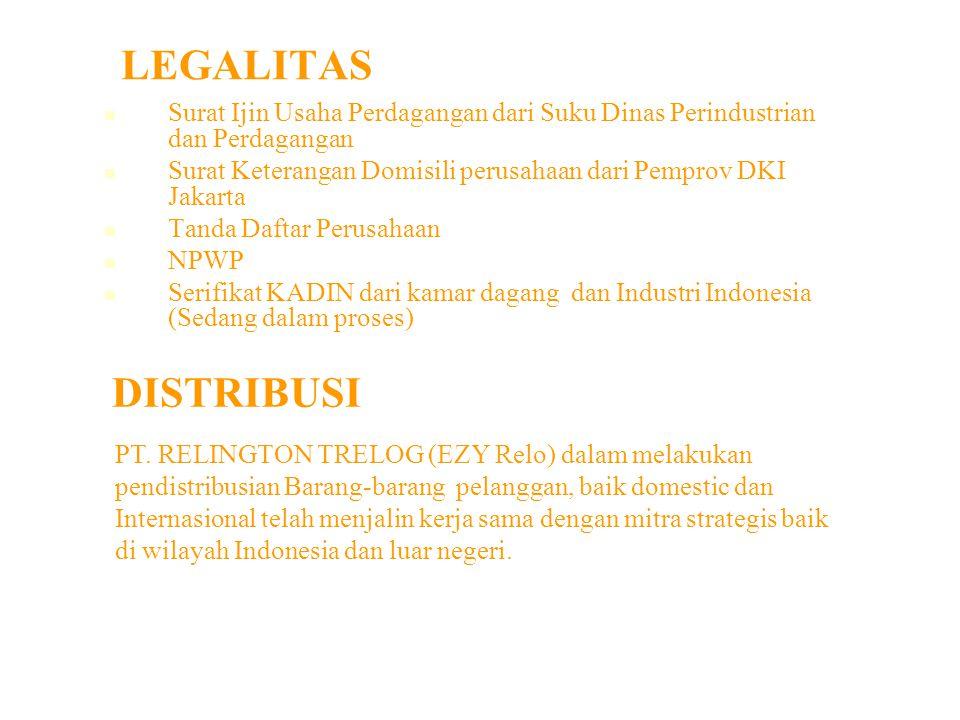 LEGALITAS Surat Ijin Usaha Perdagangan dari Suku Dinas Perindustrian dan Perdagangan. Surat Keterangan Domisili perusahaan dari Pemprov DKI Jakarta.