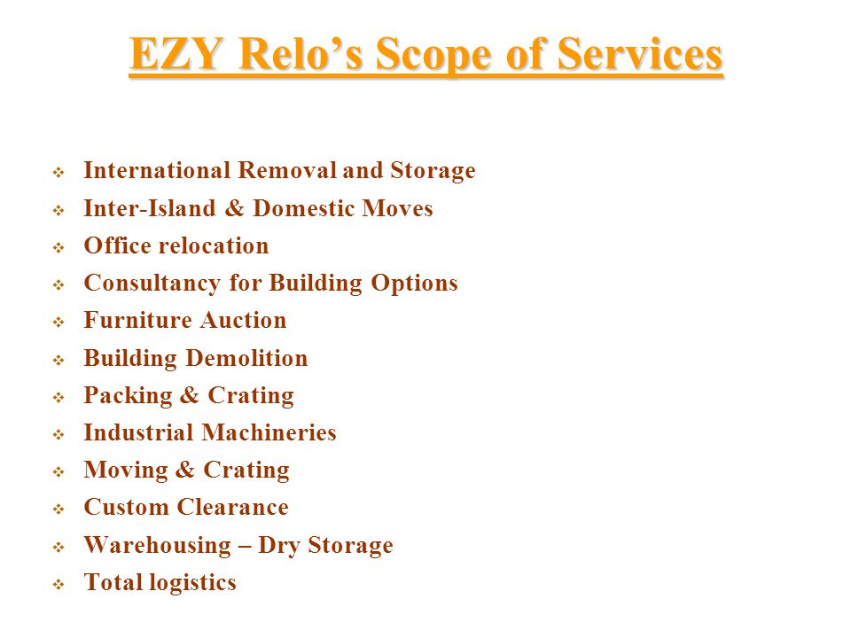 EZY Relo's Scope of Services