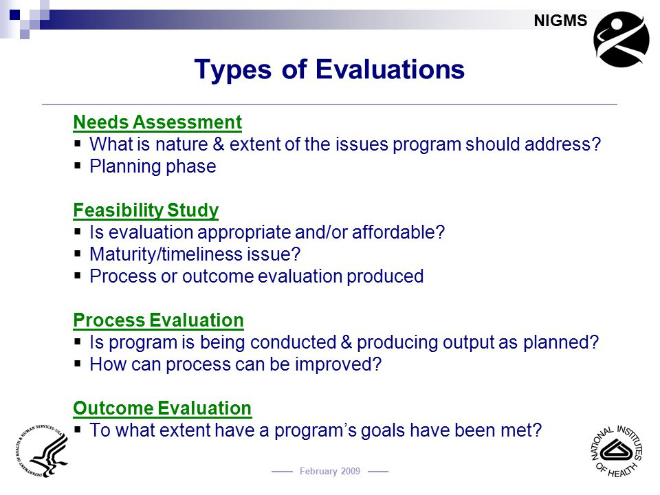 Types of Evaluations Needs Assessment